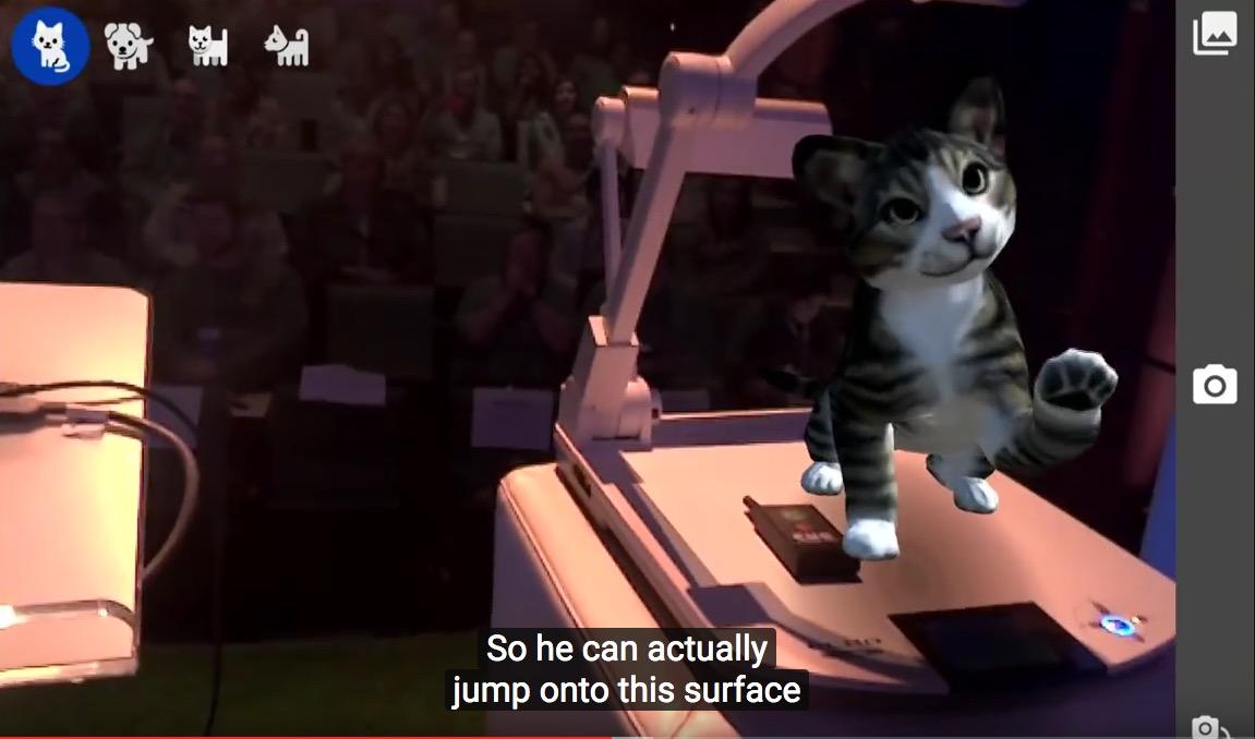 Virtuelle Katze beim Google Tango Project